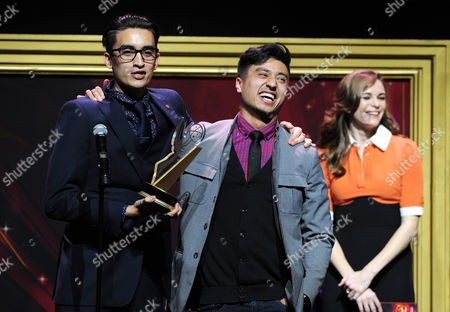 """Christopher Campbell, of Art Center College of Design, accepts the 1st Place Commercial award for """"Maglite â?"""" Dreamweaver"""" at the 36th College Television Awards, presented by the Television Academy Foundation at the Skirball Cultural Center in Los Angeles on"""