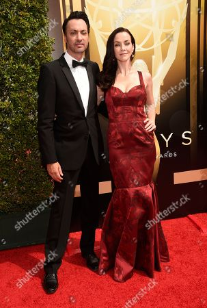 Annie Wersching, right, and Stephen Full arrive at the Creative Arts Emmy Awards at the Microsoft Theater, in Los Angeles