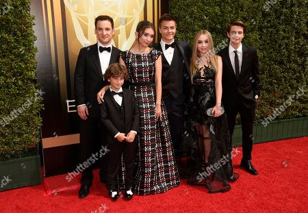 Ben Savage, from left, August Maturo, Rowan Blanchard, Peyton Meyer, Sabrina Carpenter, and Corey Fogelmanis arrive at the Creative Arts Emmy Awards at the Microsoft Theater, in Los Angeles