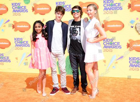 Saara Shaudry, from left, Jake Goodman, Jonny Gray and Emilia McCarthy arrives at Nickelodeon's 28th annual Kids' Choice Awards at The Forum, in Inglewood, Calif