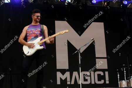 Mark Pellizzer and Magic! performs at Rock in Rio USA at the MGM Resorts Festival Grounds, in Las Vegas