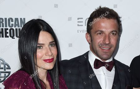 Alessandro Del Piero, right, and Sonia Amoruso arrive at the 30th annual American Cinematheque Award Honoring Ridley Scott at the Beverly Hilton Hotel, in Beverly Hills, Calif