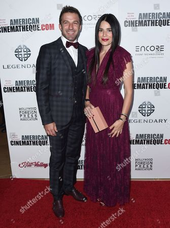 Alessandro Del Piero, left, and Sonia Amoruso arrive at the 30th annual American Cinematheque Award Honoring Ridley Scott at the Beverly Hilton Hotel, in Beverly Hills, Calif