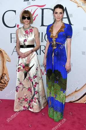 Anna Wintour, left, and Bee Schaffer arrive at the CFDA Fashion Awards at the Hammerstein Ballroom, in New York