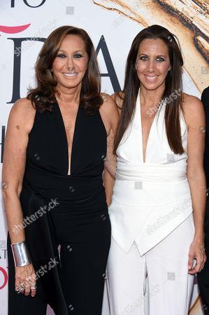 Donna Karan, left, and Gabby Karan De Felice arrive at the CFDA Fashion Awards at the Hammerstein Ballroom, in New York