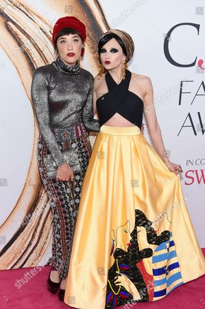 Mia Moretti, left, and Stacey Bendet Eisner arrive at the CFDA Fashion Awards at the Hammerstein Ballroom, in New York