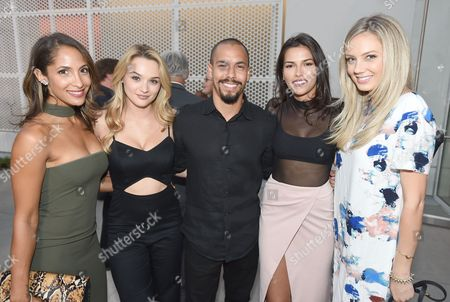 Christel Khalil, from left, Hunter King, Bryton James, Sofia Pernas, and Melissa Ordway attend the 2016 Daytime Peer Group Celebration presented by the Television Academy at their Saban Media Center, in North Hollywood, Calif
