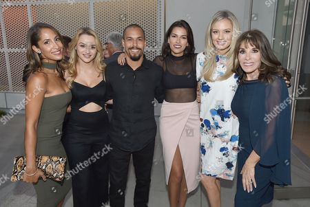 Christel Khalil, from left, Hunter King, Bryton James, Sofia Pernas, Melissa Ordway, and Kate Linder attend the 2016 Daytime Peer Group Celebration presented by the Television Academy at their Saban Media Center, in North Hollywood, Calif