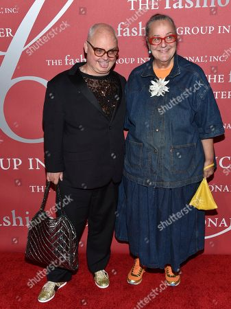 Mickey Boardman, left, and Kim Hastreiter from Paper Magazine attend The Fashion Group International's Night of Stars Gala at Cipriani Wall Street, in New York