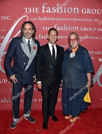 James Curleigh, left, Grant Barth and Kim Hastreiter attend The Fashion Group International's Night of Stars Gala at Cipriani Wall Street, in New York