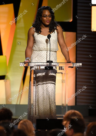 Mya Taylor speaks at the Film Independent Spirit Awards, in Santa Monica, Calif