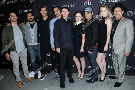 """Maurice Compte, from left, D.J. Cotrona, Marko Zaror, Diego Gutierrez, Daniel Tibbets, Madison Davenport, Jesse Garcia, Sarah Minnich and Danny Trejo attend the """"From Dusk till Dawn: The Series"""" screening and panel discussion at the 2016 PaleyFest Fall TV Previews, in Beverly Hills, Calif"""