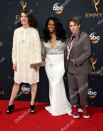Gaby Hoffmann, from left, Alexandra Grey, and Jill Soloway arrive at the 68th Primetime Emmy Awards, at the Microsoft Theater in Los Angeles
