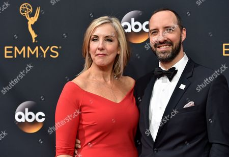 Tony Hale, right, and Martel Thompson arrive at the 68th Primetime Emmy Awards, at the Microsoft Theater in Los Angeles