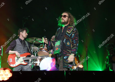 Jim James, Tom Blankenship, Patrick Hallahan, Bo Koster and Carl Broemel with My Morning Jacket performs during the 2016 Shaky Knees Festival at Centennial Olympic Park, in Atlanta