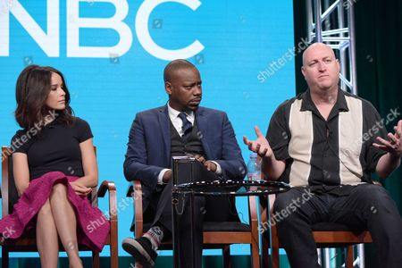 Abigail Spencer, from left, Malcolm Barrett and executive producer Shawn Ryan participate in the 'Timeless' panel during the NBCUniversal Television Critics Association summer press tour, in Beverly Hills, Calif