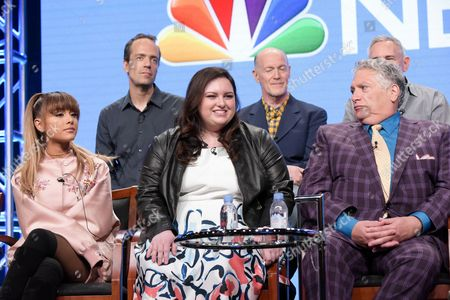 """Alex Rudzinski, from back row left, Neil Meron and Craig Zadan, and from front row left, Ariana Grande, Maddie Baillio and Harvey Fierstein participate in the """"Hairspray Live!"""" panel during the NBC Television Critics Association summer press tour, in Beverly Hills, Calif"""
