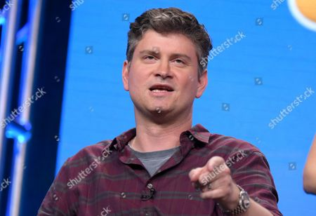 """Michael Schur participates in """"The Good Place"""" panel during the NBC Television Critics Association summer press tour, in Beverly Hills, Calif"""