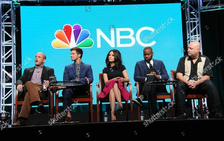 Executive producer Erik Kripke, from left, Matt Lanter, Abigail Spencer, Malcolm Barrett and executive producer Shawn Ryan participate in the 'Timeless' panel during the NBCUniversal Television Critics Association summer press tour, in Beverly Hills, Calif