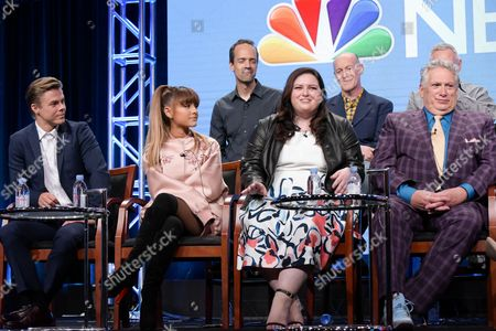 """Stock Photo of Alex Rudzinski, from back row left, Neil Meron and Craig Zadan, and from front row left, Derek Hough, Ariana Grande, Maddie Baillio and Harvey Fierstein participate in the """"Hairspray Live!"""" panel during the NBC Television Critics Association summer press tour, in Beverly Hills, Calif"""