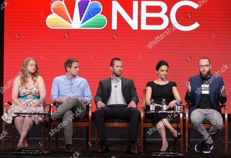 """Executive producers Sarah Schechter, from left, and Greg Berlanti, Sullivan Stapleton, Archie Panjabi and executive producer Martin Gero participate in the """"Blindspot"""" panel during the NBCUniversal Television Critics Association summer press tour, in Beverly Hills, Calif"""