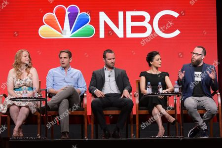 """Stock Image of Executive producers Sarah Schechter, from left, and Greg Berlanti, Sullivan Stapleton, Archie Panjabi and executive producer Martin Gero participate in the """"Blindspot"""" panel during the NBCUniversal Television Critics Association summer press tour, in Beverly Hills, Calif"""