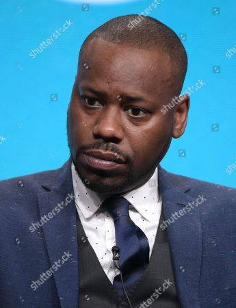 """Malcolm Barrett participates in the """"Timeless"""" panel during the NBCUniversal Television Critics Association summer press tour, in Beverly Hills, Calif"""