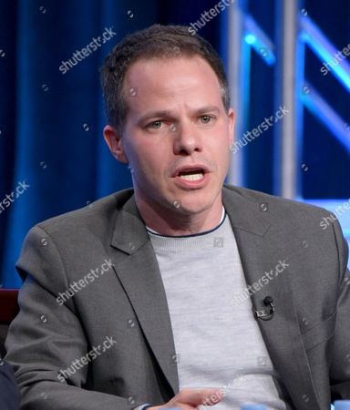"""Executive producer Justin Spitzer participates in the """"Superstore"""" panel during the NBCUniversal Television Critics Association summer press tour, in Beverly Hills, Calif"""