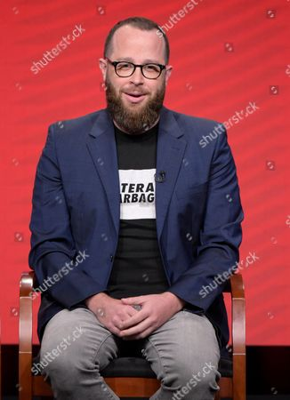"""Executive producer Martin Gero participates in the """"Blindspot"""" panel during the NBCUniversal Television Critics Association summer press tour, in Beverly Hills, Calif"""