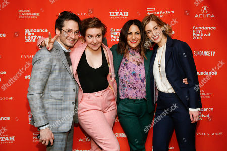 From left to right, documentary subject and custom suit maker Daniel Friedman, left, producers Lena Dunham, Jenni Koner, and Daphne Moked pose at the premiere of 'Suited' during the 2016 Sundance Film Festival, in Park City, Utah