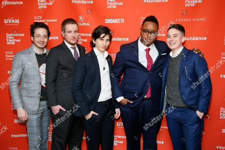 """From left to right, documentary subjects Daniel Friedman, Derek Matteson, Melissa Plaut, Everett Arthur, and Rae Tutera poses at the premiere of """"Suited"""" during the 2016 Sundance Film Festival, in Park City, Utah"""