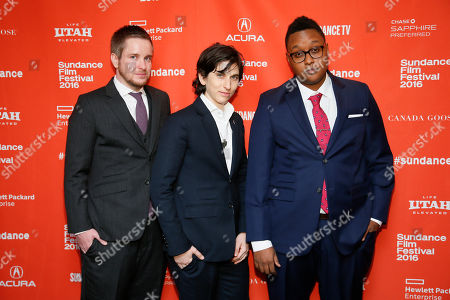 """From left to right, documentary subjects Derek Matteson, Melissa Plaut, Everett Arthur pose at the premiere of """"Suited"""" during the 2016 Sundance Film Festival, in Park City, Utah"""