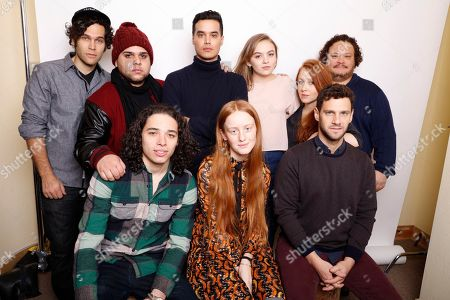 """From top left, producer Gabriel Nussbaum, actors Ralph Rodriguez, Brian """"Sene"""" Marc, Morgan Saylor, director Elizabeth Wood, actors Adrian Martinez, Anthony Ramos, India Menuez, and Justin Bartha, pose for a portrait to promote the film, """"White Girl"""", at the Toyota Mirai Music Lodge during the Sundance Film Festival on in Park City, Utah"""