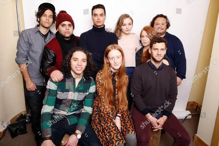 """From top left, producer Gabriel Nussbaum, actors Ralph Rodriguez, Brian """"Sene"""" Marc, Morgan Saylor, director Elizabeth Wood, and actor Adrian Martinez, bottom from left, Anthony Ramos, India Menuez, and Justin Bartha, pose for a portrait to promote the film, """"White Girl,"""" at the Toyota Mirai Music Lodge during the Sundance Film Festival on in Park City, Utah"""