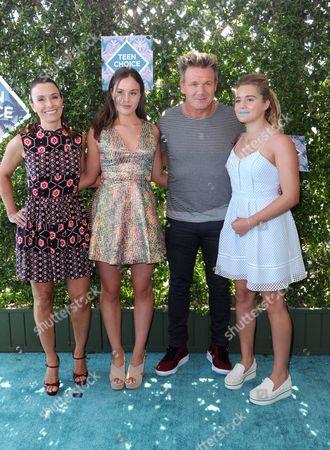Tana Ramsay, from left, Megan Ramsay, chef Gordon Ramsay, and Holly Ramsay arrive at the Teen Choice Awards at the Forum, in Inglewood, Calif