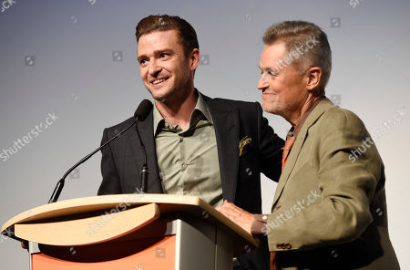 """Justin Timberlake, left, star of the concert film """"Justin Timberlake + The Tennessee Kids,"""" and director Jonathan Demme introduce the film at the premiere on day 6 of the Toronto International Film Festival at Roy Thomson Hall, in Toronto"""