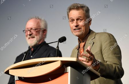 """Jonathan Demme, director of the film """"Justin Timberlake + The Tennessee Kids,"""" introduces the film alongside producer Gary Goetzman at the premiere of the film on day 6 of the Toronto International Film Festival at Roy Thomson Hall, in Toronto"""