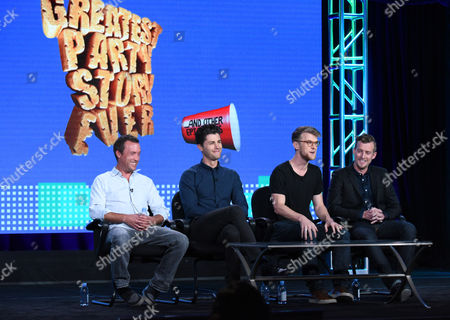 "Alex Bulkley, from left, Ben Nemtin, Jonnie Pen and Jordan Barrow speak during the Greatest Party Story Ever...And Other Epic Tales"" panel at the MTV 2016 Winter TCA, in Pasadena, Calif"