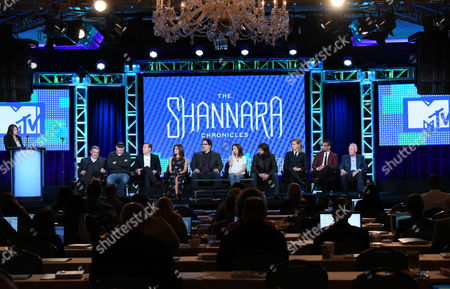 "Stock Photo of John Rhys-Davies, from left, Al Gough, Miles Millar, Poppy Drayton, Jon Favreau, Ivana Baquero, Jonathan Liebesman, Austin Butler, Manu Bennett and Terry Brooks speak during the ""The Shannara Chronicles"" panel at the MTV 2016 Winter TCA, in Pasadena, Calif"
