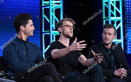 """Stock Image of Ben Nemtin, from left, Jonnie Pen and Jordan Barrow speak during the Greatest Party Story Ever...And Other Epic Tales"""" panel at the MTV 2016 Winter TCA, in Pasadena, Calif"""