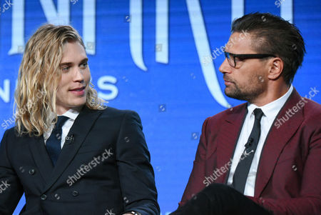 """Stock Photo of Austin Butler, left, and Manu Bennett speak during the """"The Shannara Chronicles"""" panel at the MTV 2016 Winter TCA, in Pasadena, Calif"""