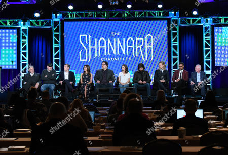 "John Rhys-Davies, from left, Al Gough, Miles Millar, Poppy Drayton, Jon Favreau, Ivana Baquero, Jonathan Liebesman, Austin Butler, Manu Bennett and Terry Brooks participate in the ""The Shannara Chronicles"" panel at the MTV 2016 Winter TCA, in Pasadena, Calif"