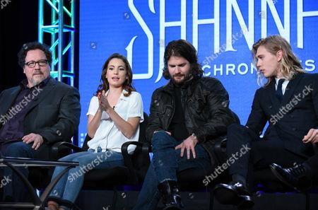 "Stock Image of Jon Favreau, from left, Ivana Baquero, Jonathan Liebesman and Austin Butler speak during the ""The Shannara Chronicles"" panel at the MTV 2016 Winter TCA, in Pasadena, Calif"