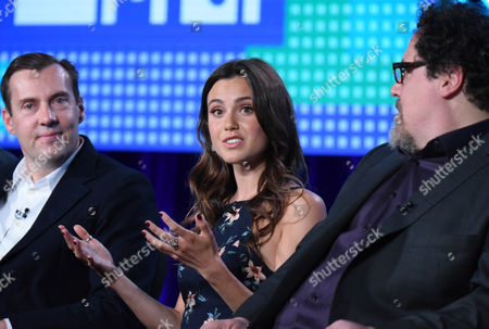 "Stock Photo of Miles Millar, from left, Poppy Drayton and Jon Favreau speak during the ""The Shannara Chronicles"" panel at the MTV 2016 Winter TCA, in Pasadena, Calif"