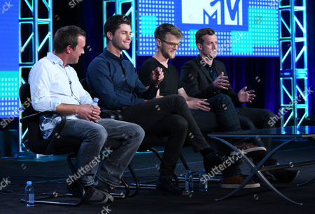 """Stock Picture of Alex Bulkley, from left, Ben Nemtin, Jonnie Pen and Jordan Barrow speak during the Greatest Party Story Ever...And Other Epic Tales"""" panel at the MTV 2016 Winter TCA, in Pasadena, Calif"""