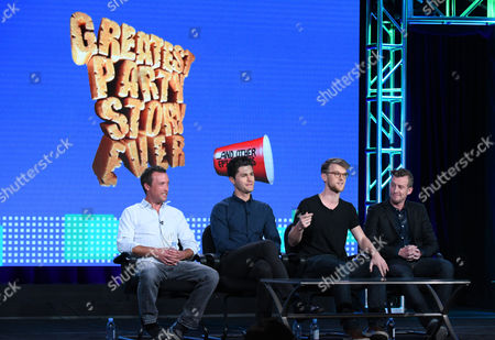 "Stock Picture of Alex Bulkley, from left, Ben Nemtin, Jonnie Pen and Jordan Barrow speak during the ""Greatest Party Story Ever...And Other Epic Tales"" panel at the MTV 2016 Winter TCA, in Pasadena, Calif"
