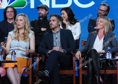 "The cast and crew of ""Heartbeat"" participate in a panel at the NBCUniversal Winter TCA, Pasadena, Calif. Pictured from back row left are executive producer Brad Silberling, Jamie Kennedy, Maya Erskine and Joshua Leonard, and from front row left, Melissa George, Dave Annable, executive producer Kathy Magliato"