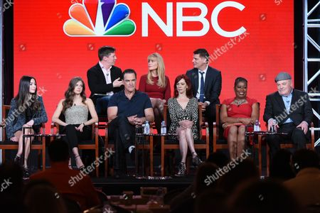 """Executive producer Sean Hayes, from top left, executive producer Suzanne Martin, executive producer Todd Milliner, Miranda Cosgrove, Mia Serafino, Patrick Warburton, Carrie Preston, Caralease Burke and Stacy Keach participate in the """"Crowded"""" panel at the NBCUniversal Winter TCA, Pasadena, Calif"""