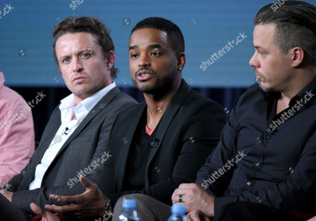 """David Lyons, from left, Larenz Tate and Michael Raymond-James participate in the """"Game of Silence"""" panel at the NBCUniversal Winter TCA, Pasadena, Calif"""