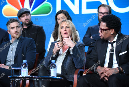 """The cast and crew of """"Heartbeat"""" participate in a panel at the NBCUniversal Winter TCA, Pasadena, Calif. Pictured from back row left are Jamie Kennedy, Maya Erskine and Joshua Leonard, and from front row left, Dave Annable, executive producer Kathy Magliato and D. L. Hughley"""